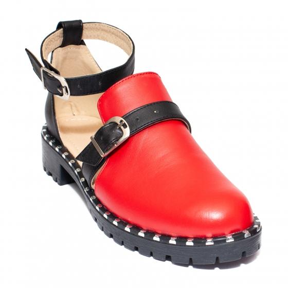 Sandale domnisoare piele 1803 Cika bej negru 35-40
