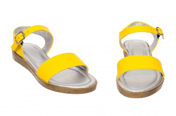 Sandale domnisoare piele naturala 222 galben 36-41