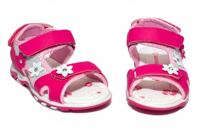 Sandale fete brant din piele 1615 fuxia 24-35