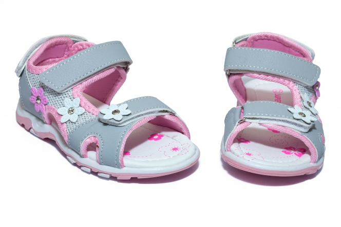 Sandale fete brant din piele 1615 gri roz 24-35