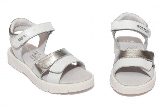 Sandale fete hokide 435 alb argrintiu 26-35