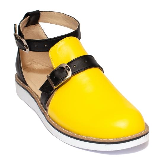 Sandale fete piele 1803 Cika galben negru 24-36