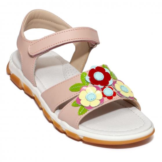 Sandale fete piele avus AV29 roz bej 24-34