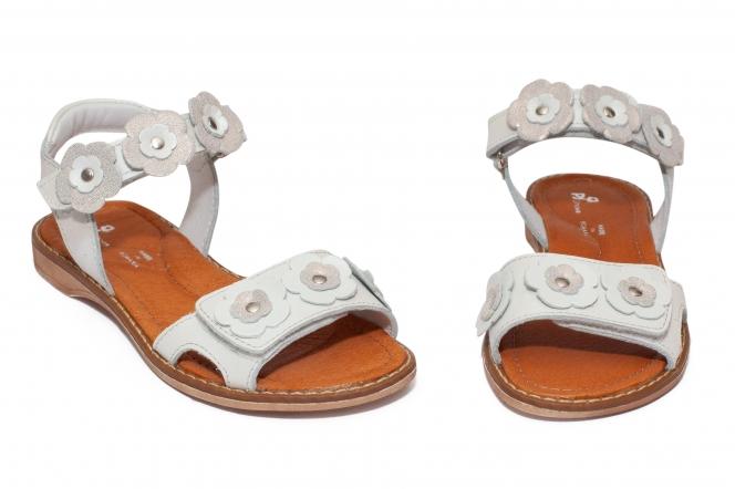 Sandale fete pj shoes Ana alb flori 27-36
