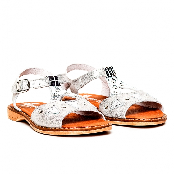 Sandale fete pj shoes din piele Venus argintiu 27-36
