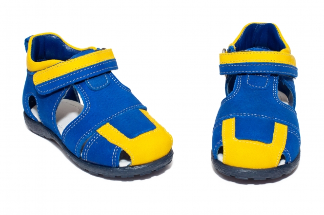 Sandalute baieti avus 222 albastru galben 18-27