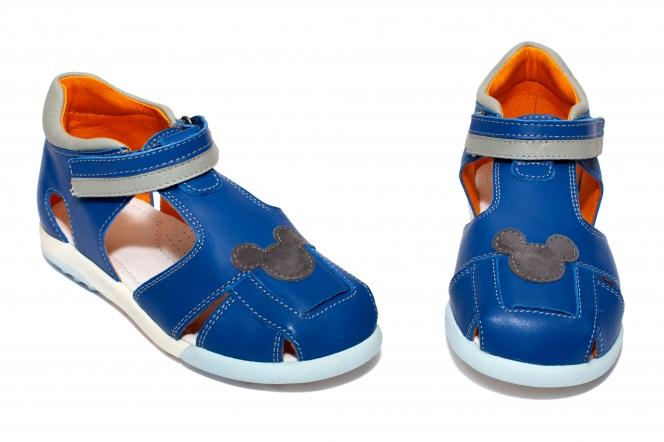 Sandalute baieti avus din piele AV22 albastru alb miky 20-30