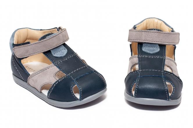 Sandalute baieti avus din piele AV37 blu gri 17-26