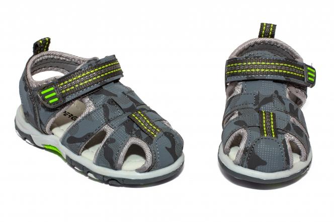 Sandalute baieti brant din piele 1611 gri 20-25