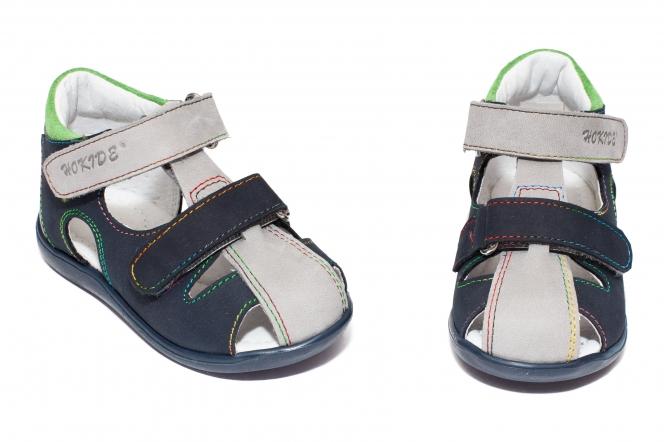 Sandalute baieti cu talonet hokide 186 blu gri verde 18-24