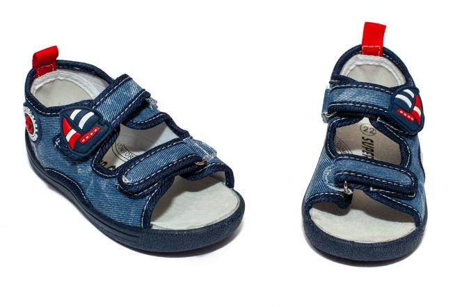Sandalute baieti flexibile cu brant din piele 1430 navi 20-25