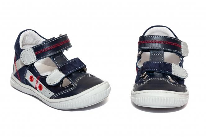 Sandalute baieti flexibile hokide 386 blu gri 18-25