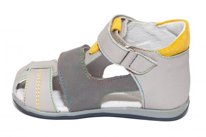 Sandalute baieti picior lat hokide 405 gri galben 18-25