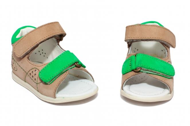 Sandalute copii avus piele 201 bej verde 18-26