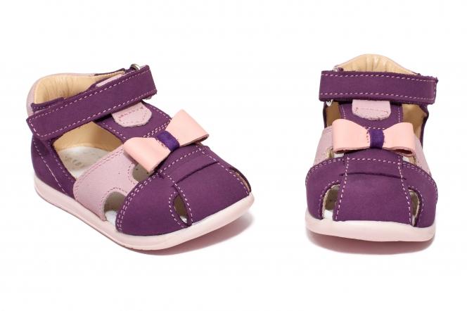 Sandalute fete avus din piele AV36 mov roz 17-26