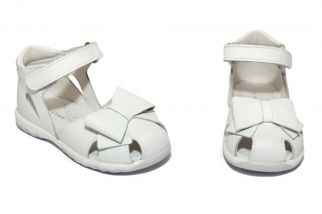 Sandalute fete avus piele 738 alb 19-26