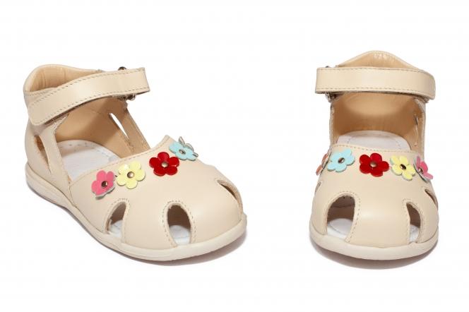 Sandalute fete avus piele 807 bej flori 18-27