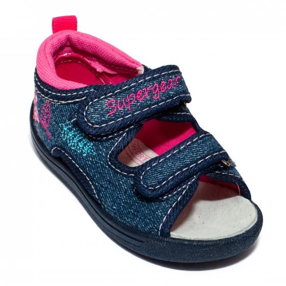 Sandalute fete flexibile cu brant din piele 1433 blue roz 20-25