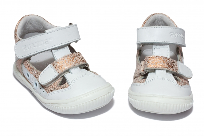 Sandalute fete flexibile hokide 386 alb roz 18-25