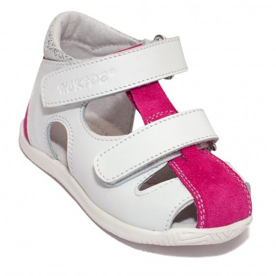 Sandalute fete hokide 186 alb fuxia 18-24