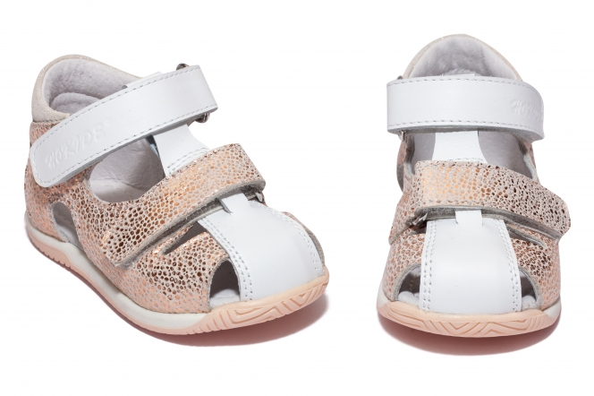 Sandalute fete hokide 186 alb roz 18-24