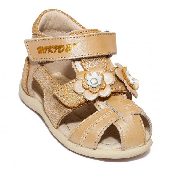 Sandalute fete hokide picior lat 405 bej auriu 18-25