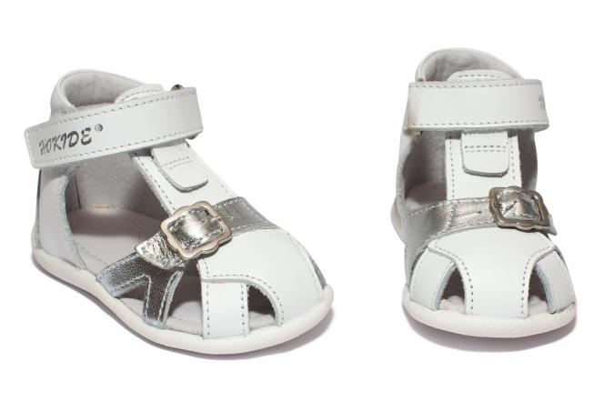 Sandalute fete inalte pe glezna hokide 231 alb arg 18-24