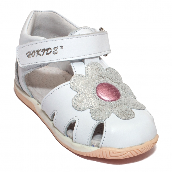 Sandalute fete inalte pe glezna hokide 436 alb roz 18-24