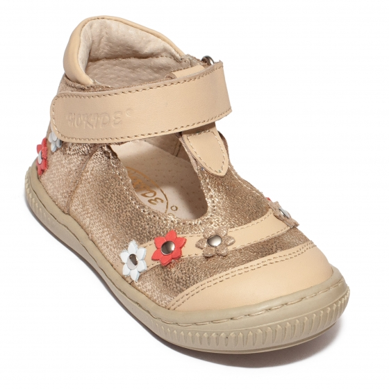 Sandalute fete inalti pe glezna hokide 403 bej auriu lux 18-25