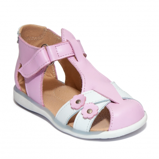 Sandalute fete piele 346 lila alb alb 18-25