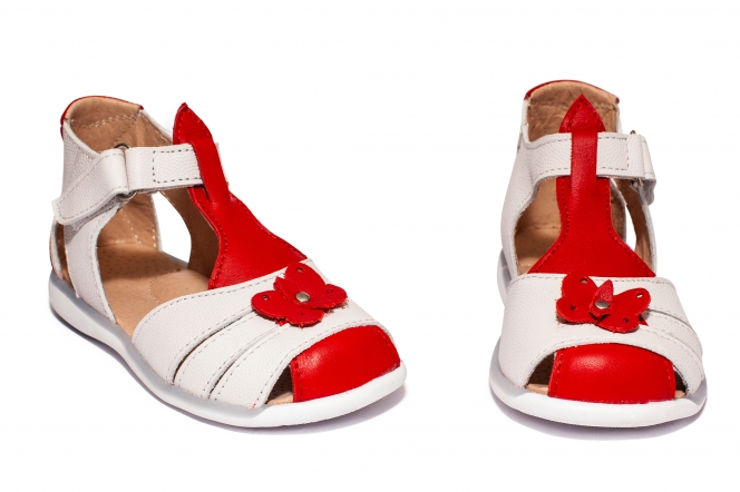 Sandalute fete piele 574 rosu alb 18-25