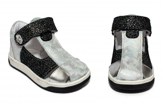 Sandalute fete pj shoes Pablo argintiu negru 18-26