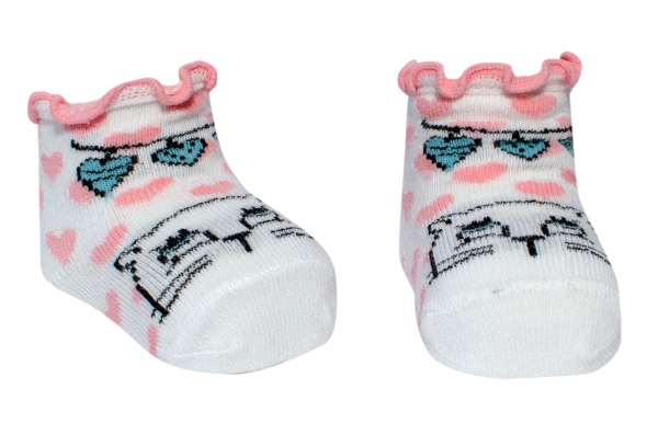 Sosete fete bebe 1231 alb roz 0-6luni