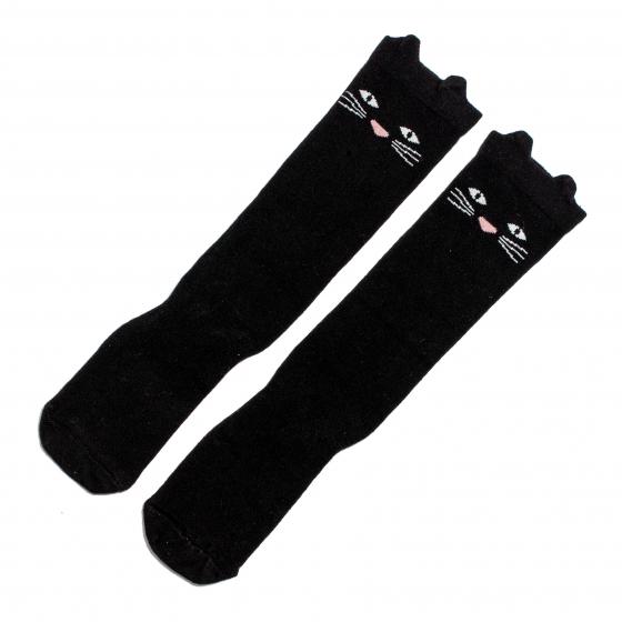Sosete fete lungi gradinita scoala Buonumare 1353 negru pisica 3-13ani