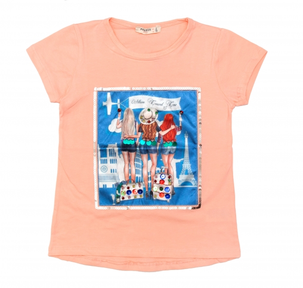 Tricouri fete 1822 roz 128cm-164cm