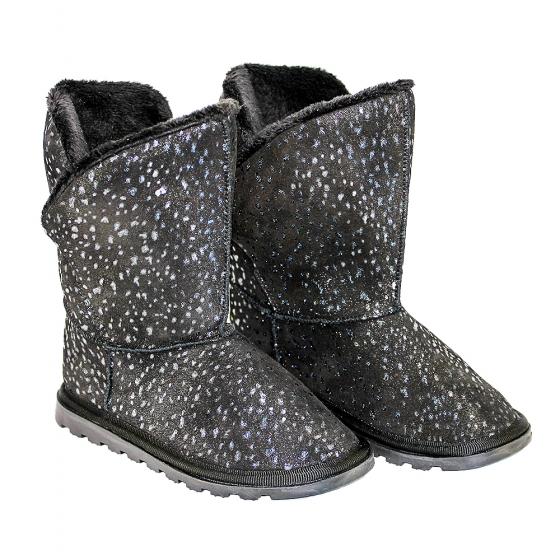 Ugg-uri copii din piele Pj Shoes Bari negru print 27-36