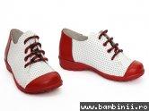 Pantofi copii 533 rosu+alb perforat